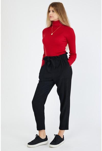 Bazza Kadın Siyah Cepli Kadife Pantolon