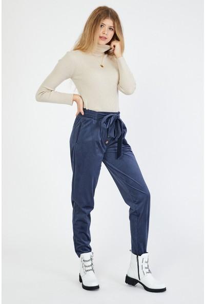 Bazza Kadın Lacivert Kadife Pantolon