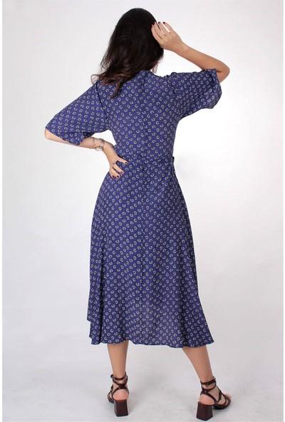 Butik Kafası Kadın Mavi Puantiyeli BUKE106 Uzun Kruvaze Elbise