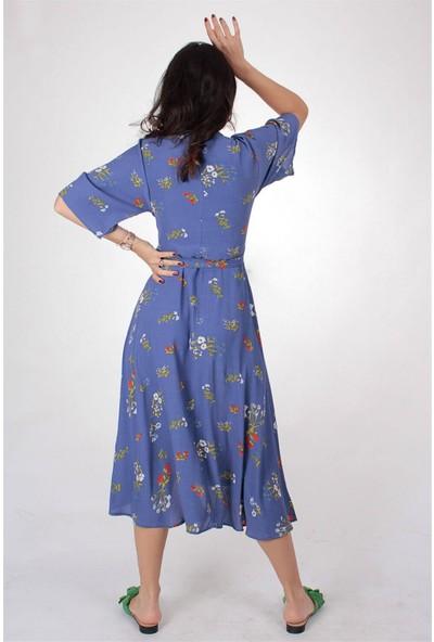 Butik Kafası Kadın Mavi Puantiyeli BUKE104 Uzun Kruvaze Elbise