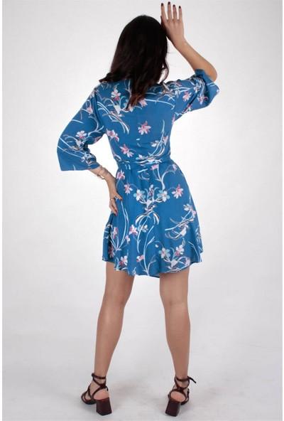 Butik Kafası Kadın Mavi Puantiyeli BKKE102 Kısa Kruvaze Elbise