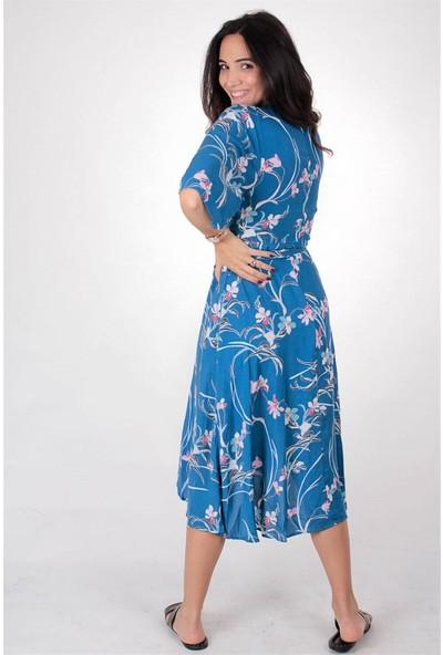 Butik Kafası Kadın Mavi Puantiyeli BUKE102 Uzun Kruvaze Elbise