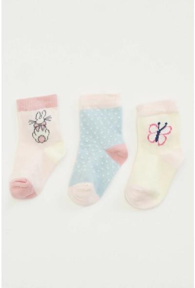 DeFacto Kız Bebek 3'lü Çorap