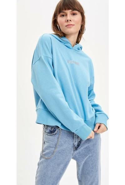 DeFacto Kapüşonlu Baskılı Sweatshirt