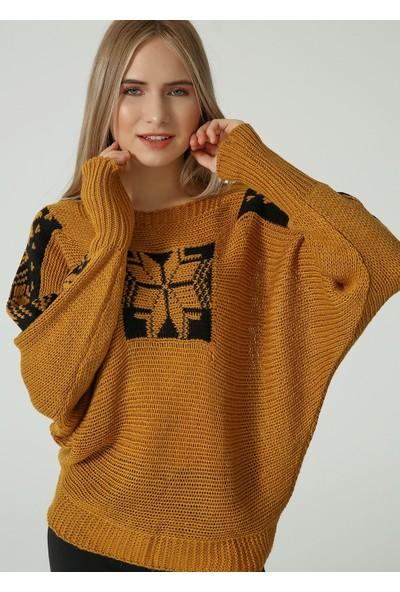 Sheilar 67036 Kayık Yaka, Yıldız Desenli Triko Kadın Kazak