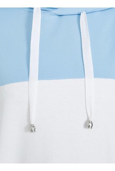 Tavin Blok Renkli Kapüşonlu Tunik Mavi