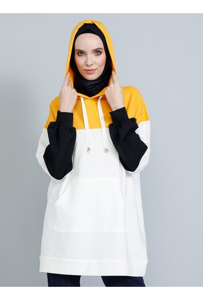 Tavin Blok Renkli Kapüşonlu Tunik Sarı