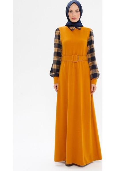 Bürün Kemerli Gömlek Yaka Elbise Hardal