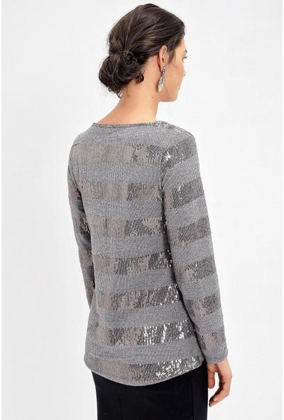 Pua Fashion Gri Payetli Bluz