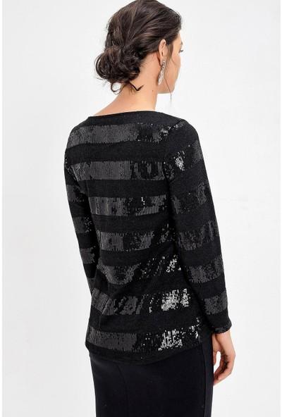 Pua Fashion Siyah Payetli Bluz