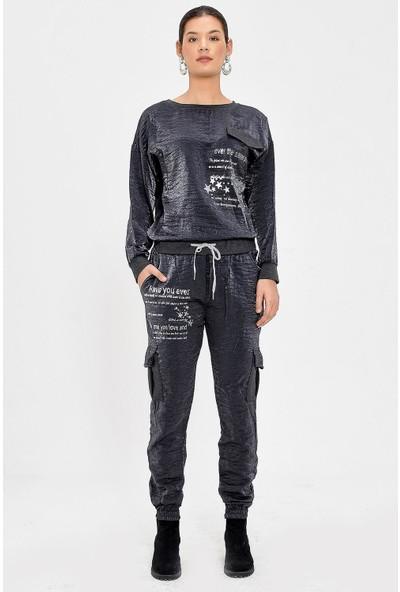 Pua Fashion Antrasit Varaklı Yazılı Eşofman Takım