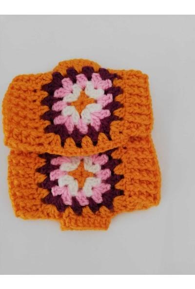 Nuh Home Kışlık Kısa Kadın Eldiveni - El Yapımı Canlı Renk Kadın Eldiveni
