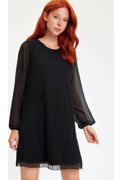 DeFacto Uzun Kollu Dokuma Elbise