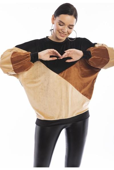 Hds Hadise Siyah Parçalı Kadife Sweatshirtshirt 2196