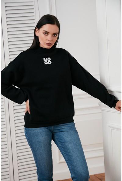 Hds Hadise Siyah Mood Baskılı Yarım Balıkçı Sweatshirt 7208