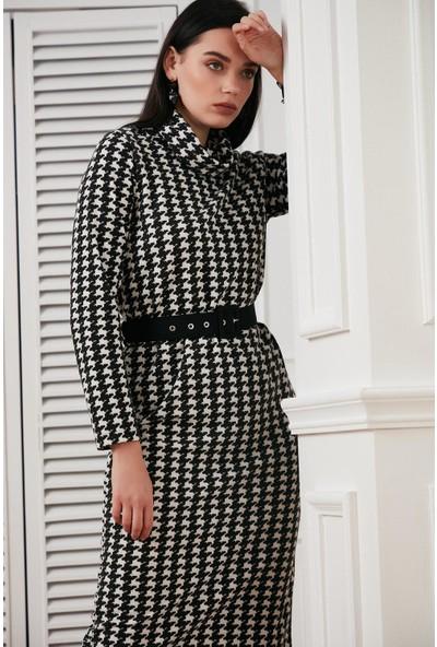 Hds Hadise Siyah Kazayagı Degaje Yaka Kemerli Elbise BE2833
