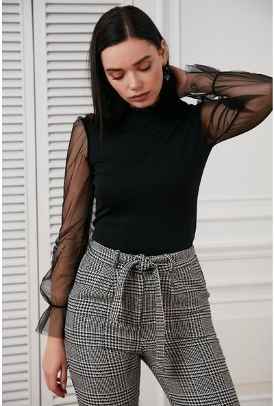 Hds Hadise Siyah Kol Yaka Tül Bluz D6102