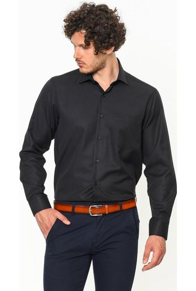 Varetta Klasik Kesim Siyah Erkek Gömlek