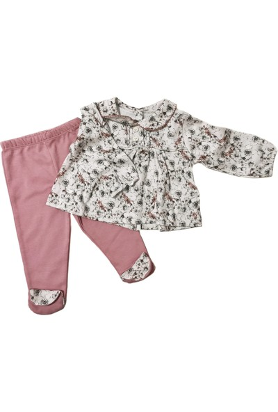 Babydoll Kız Bebek Robalı Çiçek Desenli 2'li Takım