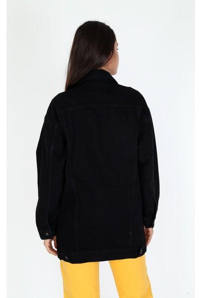 Denim Republic Kadın Siyah Oversize Uzun Kot Ceket