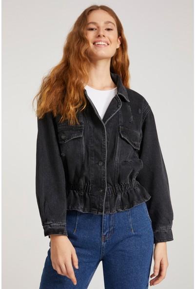 Denim Republic Kadın Siyah Beli Lastikli Kot Ceket