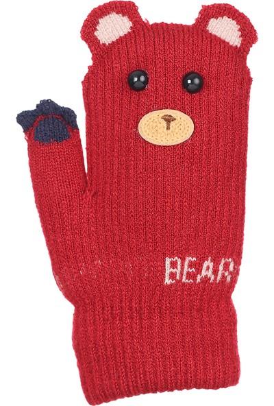 Kitti Çocuk Bebek Kışlık Eldiven Kalın Örme Bear 1-3 Yaş Kırmızı K84002
