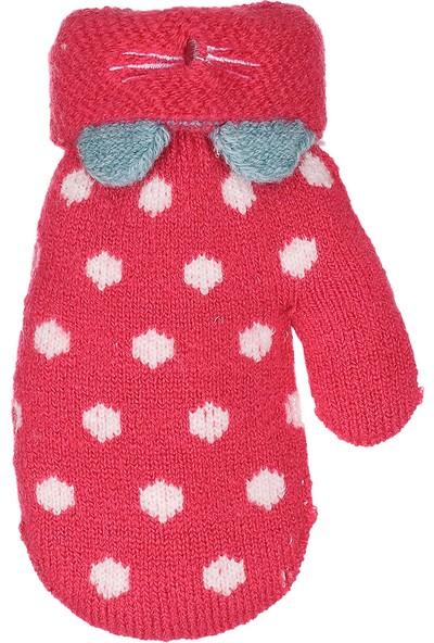 Kitti Çocuk Bebek Kışlık Eldiven Kalın Örme Benekli 1-3 Yaş Koyu Pembe K84008