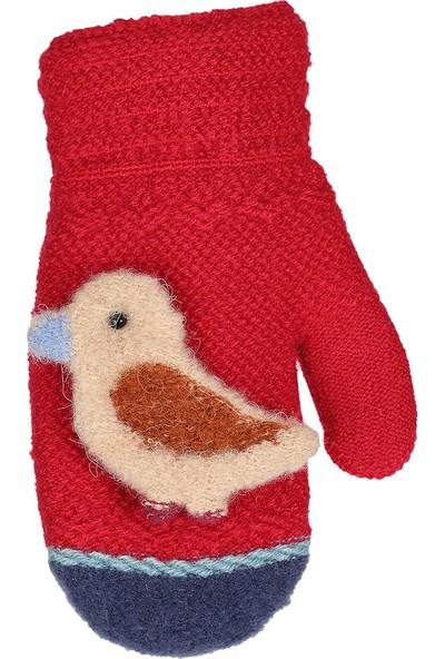 Kitti Çocuk Bebek Kışlık Eldiven Kalın Örme Kuş Figürlü 1-3 Yaş Kırmızı K84007