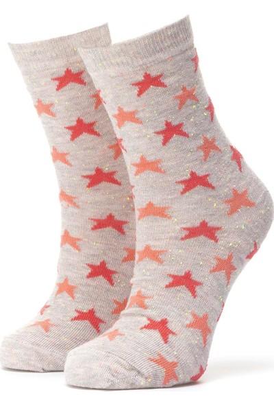 Ciorap 3'lü Kadın Yıldız Desenli Çorap 3446-A3