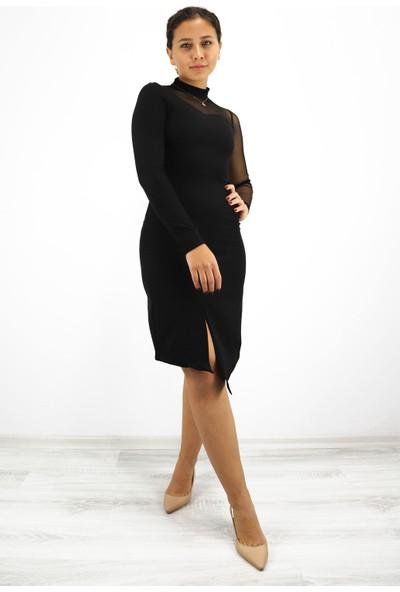 Skdress Atlas Kumaş Siyah Elbise