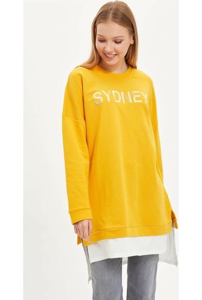 Defacto Baskılı Uzun Sweatshirt