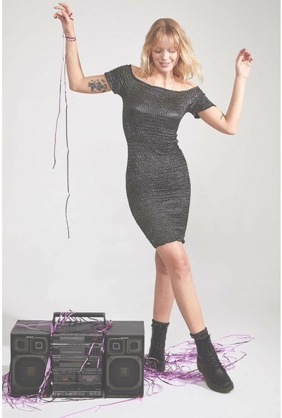 Defacto Slim Fit Omuz Dekolteli Elbise