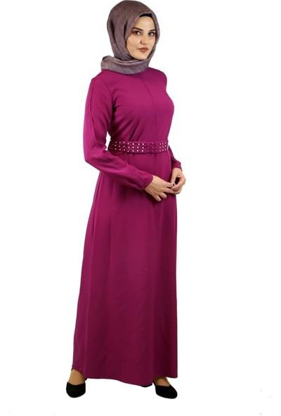 2Yaka Kemer Taşlı Elbise Fuşya 4206