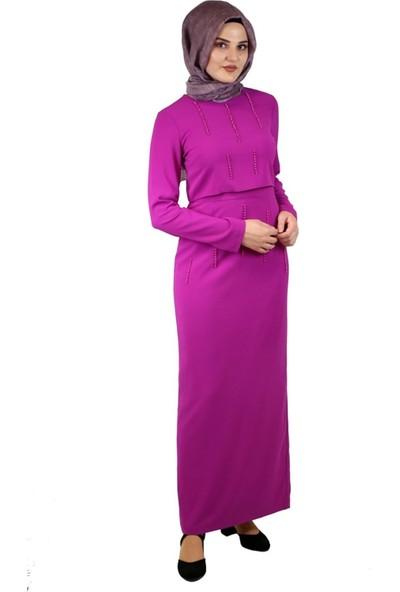 2Yaka İnci Detaylı Elbise Fuşya 4214