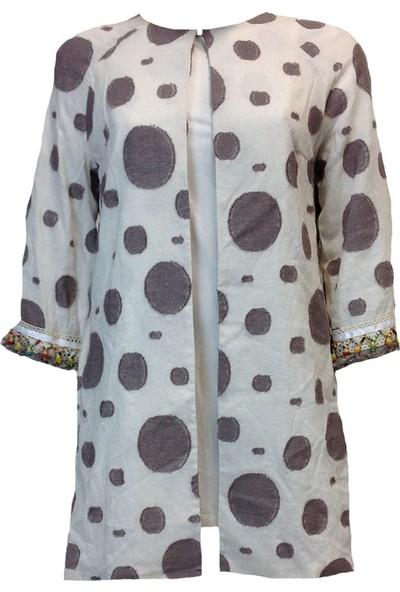 2Yaka Puantiye Desenli Boncuk Detaylı Kimono Vizon