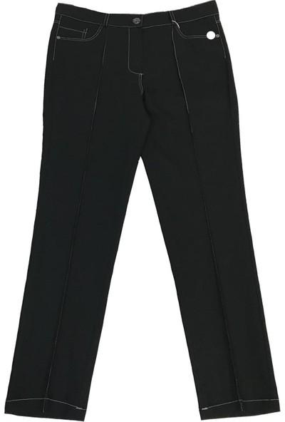 2Yaka Kot Görünümlü Düz Kesim Pantolon Siyah 3070