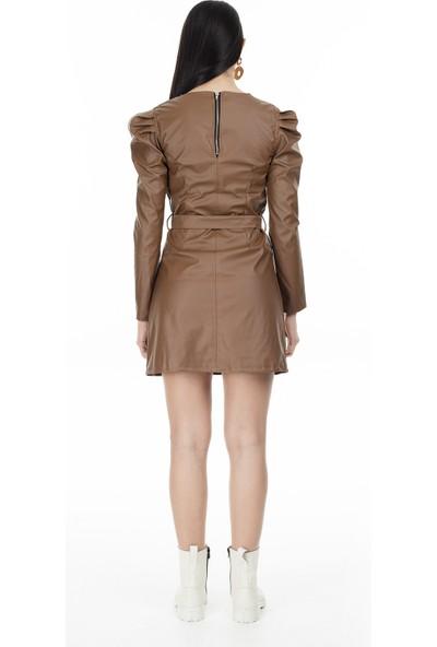 Lela Kemerli Mini Elbise Kadın Elbise 5553686