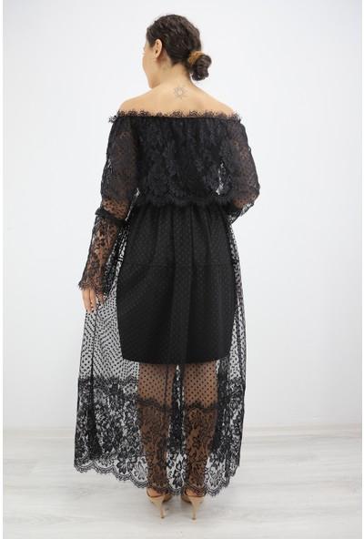 Skdress Atlas Kumaş Tül Detay Elbise