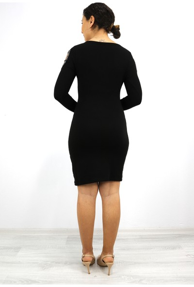 Skdress Triko Işlemeli Elbise
