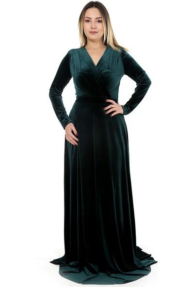 Adressim Kruvaze Yaka Kadife Elbise