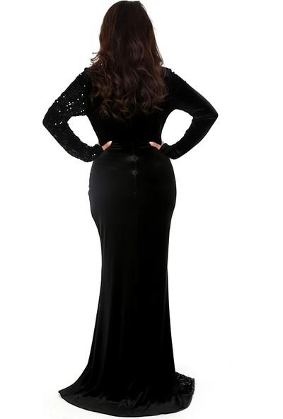 Adressim Pullu Kadife Elbise