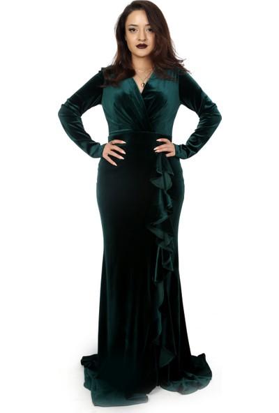 Adressim Fırfırlı Kadife Elbise
