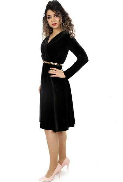 Adressim Kruvaze Yaka Kısa Kadife Elbise