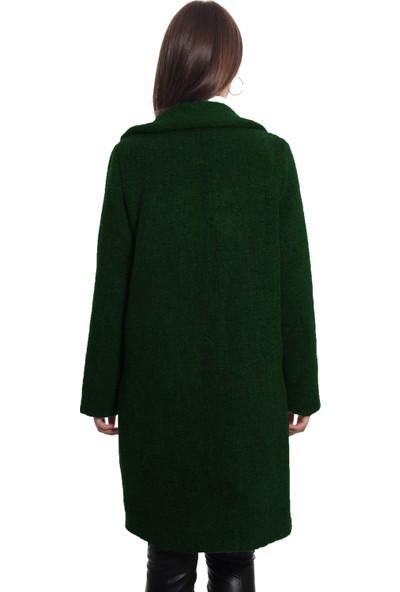 Sems Tek Düğmeli Kadın Kaban 0001 Yeşil
