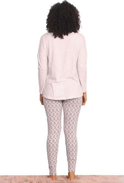 Soft Koton Likralı Taytlı Kadın Uykucu Ayıcı Desenli Pijama Takımı