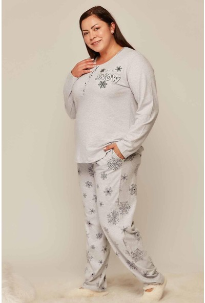 Kezokino Soft Koton Kışlık Kadın Battal Pijama Takımı