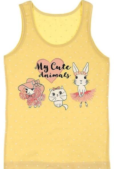 Donella My Cute Animals Baskılı Kız Çocuk Atlet - 49622UH