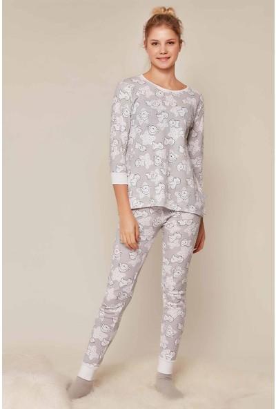 Kezokino Köpekcik Desen 3/4 Kol Kadın Pijama Takımı 353