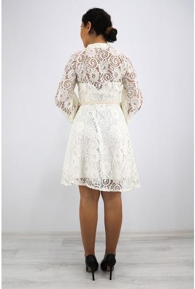 Skdress Astarlı Güpür Kumaş Elbise