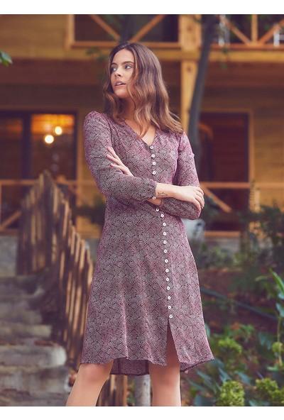Clandestino Bohem Düğme Detaylı Elbise Bordo